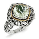 Green Quartz Ring .925 Sterling Silver w/ 14K Gold Accent Size 6-8 Shey Couture