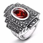 Vintage Marcasite Gray&Ruby Crystal Statement Ring Womens 18k White Gold GP R856