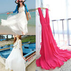 Hot Summer Women Sexy V-Neck Bohemian Chiffon Long Beach Sundress Asymmetrical