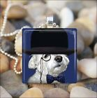 """""""TOP HAT DOG"""" WHITE TERRIER CLASSY WEST HIGHLAND DOG GLASS PENDANT NECKLACE"""