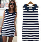Women Lady Fashion Denim Collar Sleeveless Casual Slim Striped Summer Mini Dress