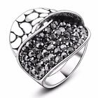 Unisex Grey Crystal Punk Womens Mens Ring Party Gift 18K White Gold plated R853