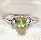 Genuine Green Peridot .925 Sterling Silver Ring -- PD730