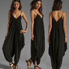 Women Summer V-Neck Sleeveless Casual Baggy Long Loose Full Jumpsuit Rompers S-L