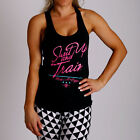 New Women Shut Up and Train T Back y back Gym Singlet yoga cotton Wear Black