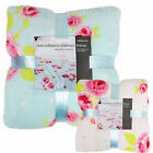 Large Vintage Rose Floral Chic Fluffy Soft Fleece Blanket Throw 150 x 200cm
