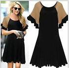 Summer ladys Oversize knit wool splicing Tops shirt party dress plus size hot