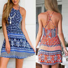 Fashion Womens Floral Print Bandage Bodycon Backless Mini Dress Evening Party