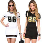 2015 SEXY Womens Sport Casual Slim Fit T Shirt Summer Short Mini Shirt Dress Tee