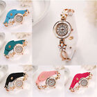 Fashion Women Leather Strap watch Alloy Floral Rhinestone Watches Wrist watch
