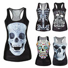 Women Summer Skull Print Singlet Vest Tank Tops Stretch Blouse Punk Rock T-Shirt