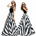Women Sexy Black White Stripes Boho Long Maxi Evening Cocktail Party Beach Dress