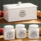 NEW Vintage Home Cream Ceramic Tea Coffee Sugar Bread Bin Kitchen Storage Set