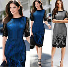 Celebrity Women's  Hips-Wrapped Dress Classic Business Lace Half Sleeve Dress