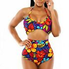 Floral Flower Print Bikini High Waist Bandeau Padded Bra Set Swimsuit Swimwear