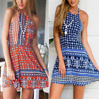 Vintage Ethnic Floral Women Sleeveless Summer Casual Stitching Color Dress