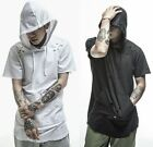 Cotton Extended Long Loose Street HIP HOP Low Tail T-Shirts Tee Shirt Hoodie