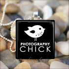 """PHOTOGRAPHY CHICK"" CAMERA PHOTO PICTURE LOVER GLASS PENDANT NECKLACE KEYRING"