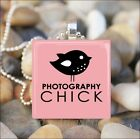 """PHOTOGRAPHY CHICK"" CAMERA PICTURE PHOTO LOVER GLASS CHARM PENDANT NECKLACE"