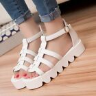 2015 Hot Sell Roman Womens Platform Hollow Out Ankle Strap Gladiators Sandals Sz