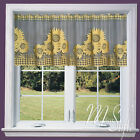 """Cafe Net Curtain Sunflowers 19"""" (50 cm) and 27"""" (70 cm) Drop Sold by the metre"""