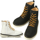 New Mens Casual Canvas Zip Ankle Boots Shoes Black or Beige