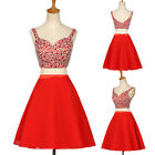 Two-Piece Set CROP TOP + MINI DRESS Sequins Bridesmaid Evening Prom Party Dress