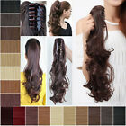 real quality clip in ponytail pony tail hair extensions straight curly wave hair