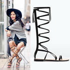 Gothic Gladiators Womens Cut Out Cross Strap Roman Zip Knee High Sandals Boots