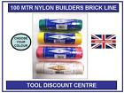 100mtr NYLON BRICK BUILDERS SETTING OUT CHALK LINE WHITE YELLOW PINK GREEN HIVIS
