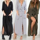 New Womens Sexy V Neck Maxi Split Dress Long Sleeve Tunic Chiffon Beach Sundress
