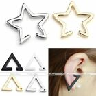 Punk Hollow Star Triangle Ear Bone Cuff Clip On Earring Cartilage Upper Closure