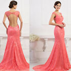 Watermelon Red Lace EVENING Gown Bridesmaid Wedding Formal Party Long Prom Dress