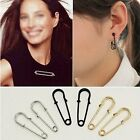 1 Pair Special Chic Safety Pin Gold & Black Fashion Ear Stud For Earrings Brooch