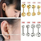 8pc Steel 3-6MM Ball Ear Studs Cartilage Tragus Barbell Sparkle Earring Piercing