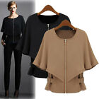 Womens Fashion OL Batwing Sleeve Zipper Coat Tops Short Slim Fit Jacket Overcoat