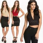 Fashion Women pinup Deep V Crop Top Belly Shirt Midriff Bodycon Backless Blouse
