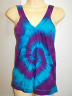 LADIES TIE DYE DYED LOOSE FIT V NECK HIPPY SINGLET TOP AVAILABLE IN SIZE 6