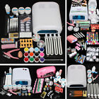 Pro Nail Art Lampe UV Gel Acrylique Pinceaux Colle Ongle Déco Strass Glitter Kit