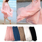 GTI - Elastic Waistband Women Chiffon Pleated Retro Vintage Maxi Long Skirt