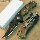 """7.5"""" Gold Sniper Black Water Assisted Open Rescue Pocket Knife - NEW  7494 zix"""