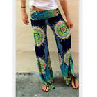 New Wide Leg Womens Floral Print Ladies Palazzo Trousers Pants M-XL