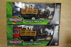 TEAMSTERZ DIECAST PLASTIC TOY CATTLE TRUCK WITH 3 ANIMALS + FARMER SCALE 1:60