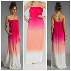 """""""Karissa"""" Strapless Pink Ombre Tie Dyed Maxi Dress Jersey Knit Raviya COUTURE"""