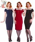 HELL BUNNY 50s REANNA cocktail PENCIL wiggle DRESS BLACK RED NAVY