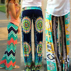 Fashion Womens Casual Pants Wide Leg Long Bohemian Loose Palazzo Trousers Slacks