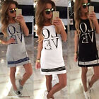 BOHO Womens Ladies Cotton Casual Long Tops Blouse Summer Love Printed Mini Dress