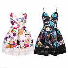Womens Celeb Cami Sleeveless Skater Dress Floral Print Contrast Mesh Panel Swing