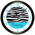 BLACK AND TURQUOISE BLUE ZEBRA ANIMAL PRINT WALL CLOCK PERSONALIZED BEDROOM TEAL