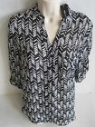 SPENCE Women's Black & White Sheer Button Tab Blouse Size Medium NWT